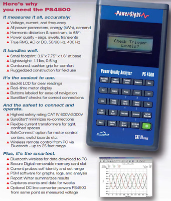 Powersight PS4500 Cat IV, 3 phase voltage/current/power analyzer w/software