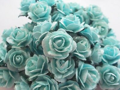 100! Cute Handmade Mulberry Paper Roses - 10mm - Pale Blue Rose Embellishments!