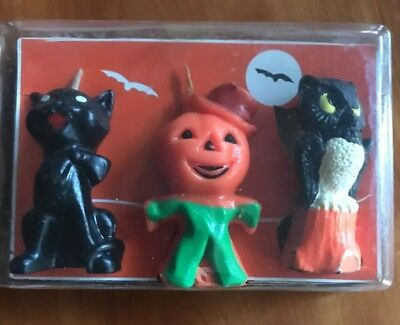 vintage Halloween GURLEY OWL, CAT & SCARECROW CANDLES with package
