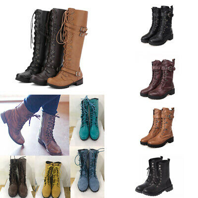 Military Combat Women/'s Knee High Lace Up military Riding Knight Boots