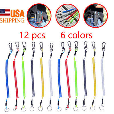 Retractable Safety Fishing Lanyard Secure Ropes Grips Keys Whistle Coiled Wire