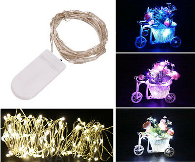 20/40 LED Button Battery Micro Rice Wire silver Fairy String Lights Party Xmas