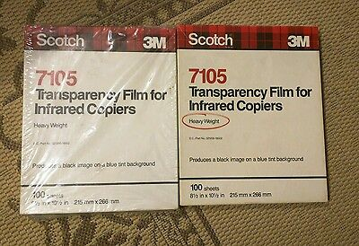 Scotch 3M 7105 Transparency Film Infrared copiers Letter Size, 100/Box x2