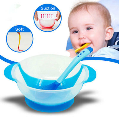 UK Baby Learning Dishes With Suction Cup Feeding Bowl Temperature Sensing Spoon