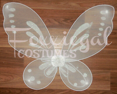 White Glitter Fairy Wings Kids Adults Costume One Size