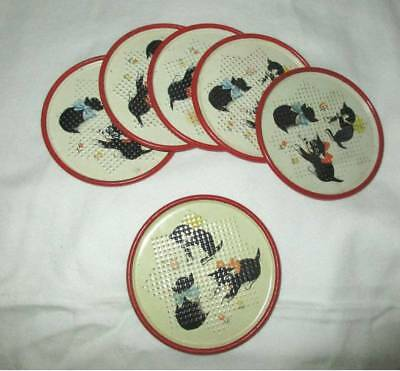 Vintage Set Of 6 Coasters Bright Colors  Punch Tin Black Kittens Cats Kitty