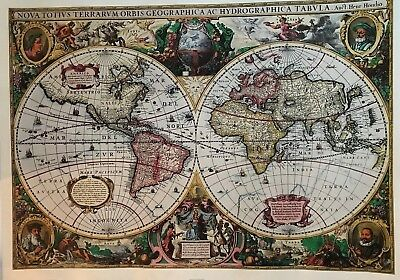 World Map In The Style Of Old ...Poster Detailed 22x26 Make Offer !!