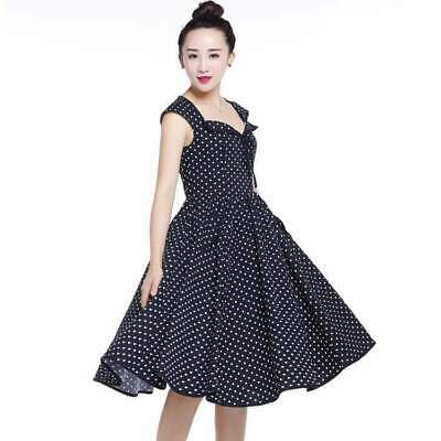 Chic Star Lucy 50s Polka Dot Dress Black Retro Vintage Pin Up Rockabilly Swing