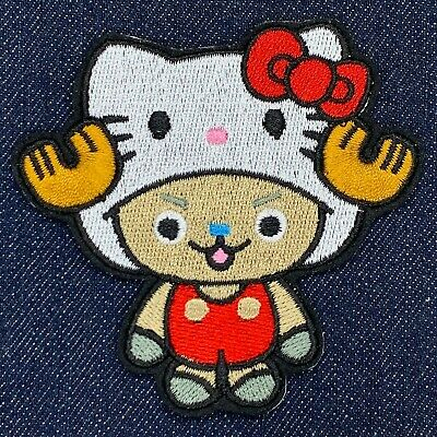 ONE PIECE TONY TONY CHOPPER AS HELLO KITTY EMBROIDERED IRON ON PATCH FREE SHIP