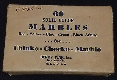 VINTAGE - 60 SOLID COLOR MARBLES in ORIGINAL BOX - MADE IN USA by BERRY PINK INC