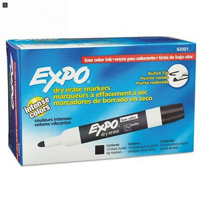 EXPO 82001 Low-Odor Dry Erase Markers, Bullet Tip, Black, 12-Count