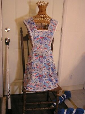 Vintage Mid Century Bib Full Apron H Back Farm Print, Blue/Red/White Medium