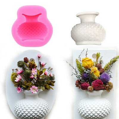 3D Flower Vase Shape Silicone Mould Fondant Cake Mini Soap Candle Mold Decor B
