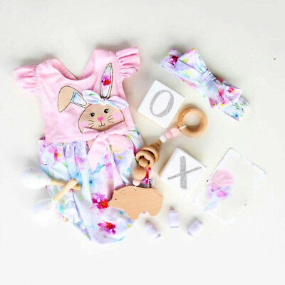 Newborn Baby Girl Floral Bunny Romper Jumpsuit Outfit Summer Headband Clothes YT