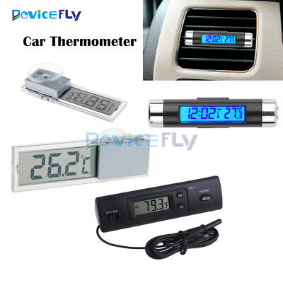 Digital LED Auto Car Clock Thermometer In-Outdoor Temperature Sensor LCD Display