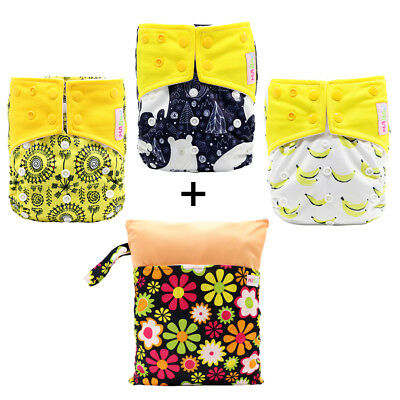 MABOJ Pocket Diaper One Size Baby Cloth Nappy Set with Diaper Wet Bag Waterproof