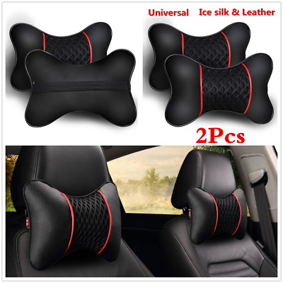 2pcs Travel Car Auto Seat Head Neck Rest PU Leather Cushion Pad Headrests Pillow