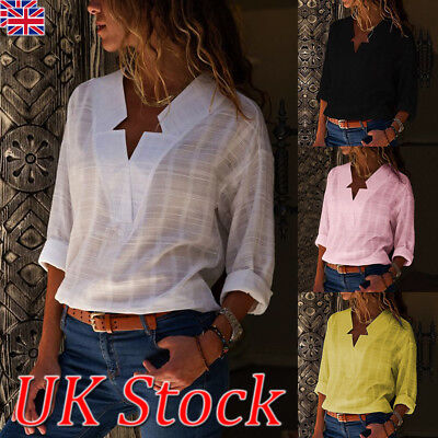 UK Womens V-neck Long Sleeve Casual OL Shirt Ladies Linen Tops Blouse Size 8-20