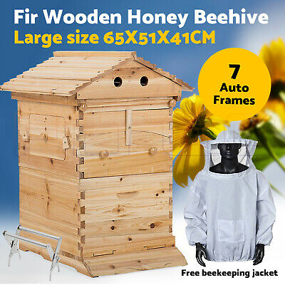 Fir Wooden Beekeeping Beehive Brood House Box +7pcs Auto Flow Honey Hive Frames