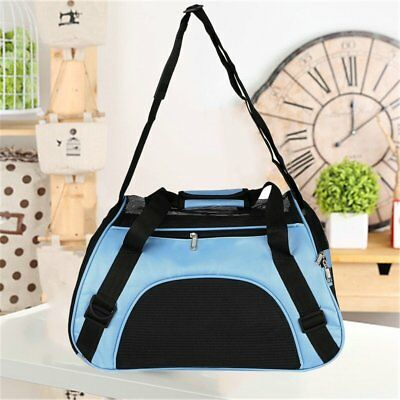 Pet Carrier Soft Sided Large Cat / Dog Comfort Blue Bag Travel Approved USA OY