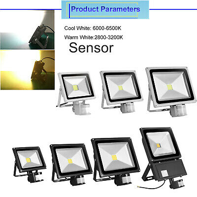 20W 30W 50W LED Floodlight PIR Motion Sensor Outdoor Security Wall IP65 Lights