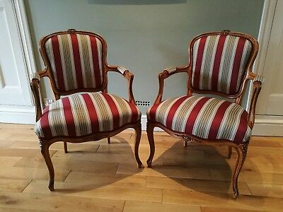 Pair of Original Antique 19 Century French Fauteuil Chairs