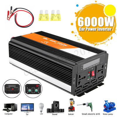 6000W Car Power Inverter 12/24V to 110/220V Sine Wave Converter With Blade Fuse