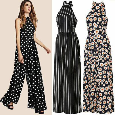 UK Womens Striped Wide Leg Holiday Jumpsuit Playsuit Polka Dot Floral Size 6-14