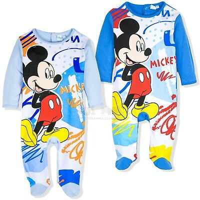Disney Mickey Mouse Baby Boys 100% Cotton Sleepsuit Romper Pyjamas Pjs Babies