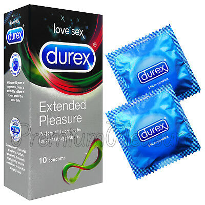 Durex Extended Pleasure condoms Performa Delay Benzocaine Last longer Box of 10