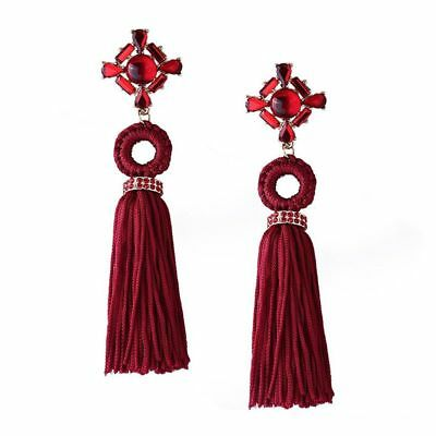 Vintage Long Tassel Earrings Rhinestone Ethnic Earrings for Women Jewelry W W2A6