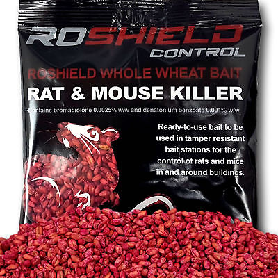 Roshield 1kg Bromadiolone Wheat Poison Sachets - Rat & Mouse Killer Control Bait