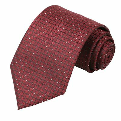 Mens Pure Color Solid Wedding Tie Check Necktie Wine red O6I1