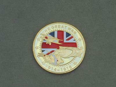 Ww1.the Great War 1914-1918.gold Coloured Coin/medal.somme,ypres,passchendale