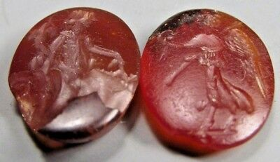 Fine Lot 2 Classical Roman Jasper Intaglios of  Classical Figures ca. 200 AD