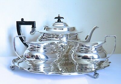 Vintage Silver Plated Tea Set and Silver Plated Tray
