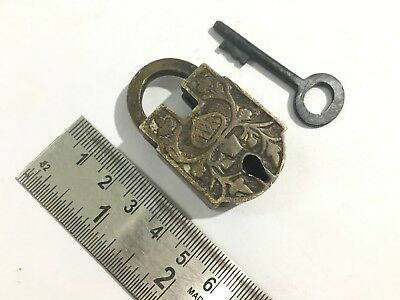 Old Antique brass unusual shape hand carved padlock with key/lock Collectible