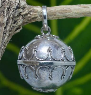 Handmade Solid Sterling Silver.925 Bali Style Harmony Chime Ball Pendant, 20 mm