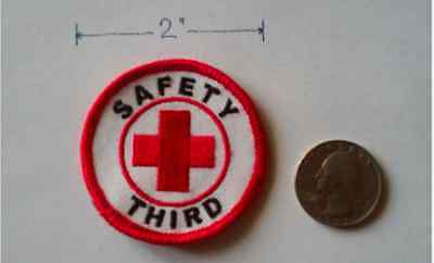 Safety Third Patch (2 inches, white and red colors)