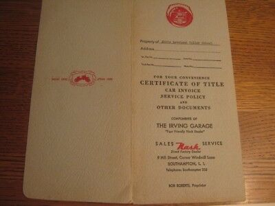 1952 Nash Sales Receipt/Warranty Certificate in Original Folder Southampton NY