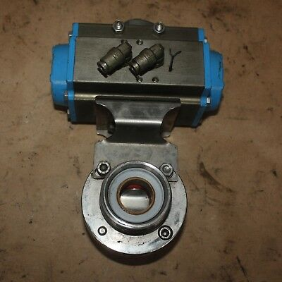 "DIN DN25 1"" Stainless food grade butterfly Valve VALBIA DA52 Pneumatic Actuator"