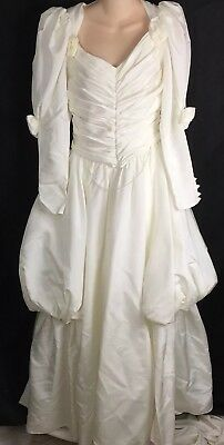 Vtg Jessica McClintock Puffy Sleeve Rosette Ivory Wedding Dress Prom 9/10
