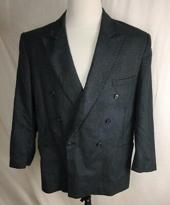 Paul Rodon Couture Zeidler Mens 44R Silk Wool Blend Double Breasted Textured