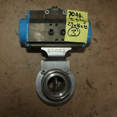 "VALBIA Pneumatic Actuator DIN DN40 1.5"" Stainless food grade butterfly Valve"