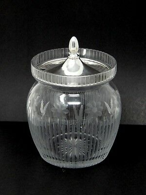 Sterling Silver RS CO ABP Cut Glass Honey Mustard Pot Condiment Jar