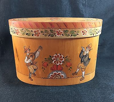 Very Charming Hand Painted Art Signed 1985 Wood Box Colonial Floral Cork 10 1/2""
