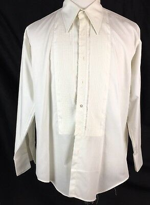 Vtg 70s Tuxedo Shirt After Six Men's 17/34 XL Pleated Front Pointy Collar French