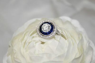 Antique Art Deco Blue Sapphire White Diamond Vintage Engagement Wedding Ring