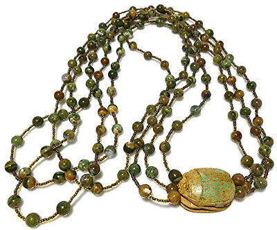 Vintage Egyptian Revival Carved Scarab Bead Beaded Brown Green Stone Necklace
