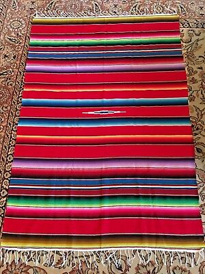 "MEXICAN SARAPE SERAPE SALTILLO BLANKET  Large 49""x 72"";  MADE IN MEXICO"